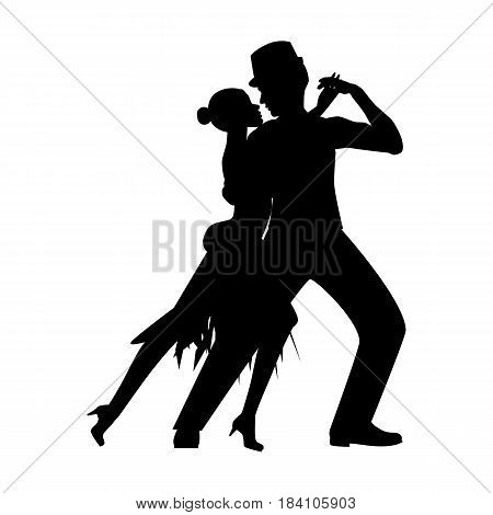 Argentina tango silhouette on the white background. Vector illustration