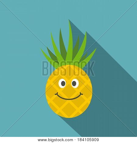 Smiling pineapple icon. Flat illustration of smiling pineapple vector icon for web on baby blue background