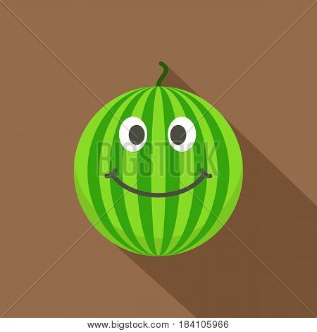 Ripe green smiling watermelon icon. Flat illustration of ripe green smiling watermelon vector icon for web on coffee background