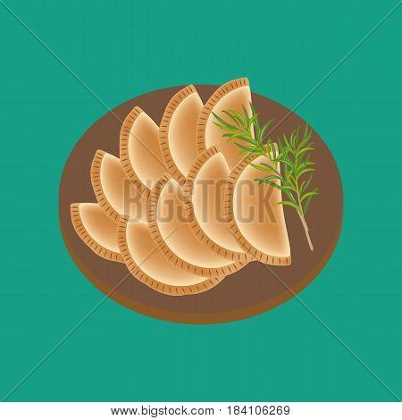 Empanadas food illustration. Argentina food. Vector illustration