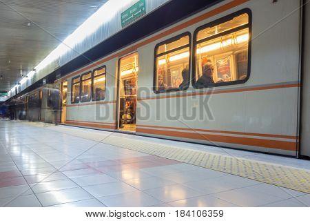 ANKARA, TURKEY - JANUARY 29, 2017: Metro train stopped at a station. Ankara, Turkey.