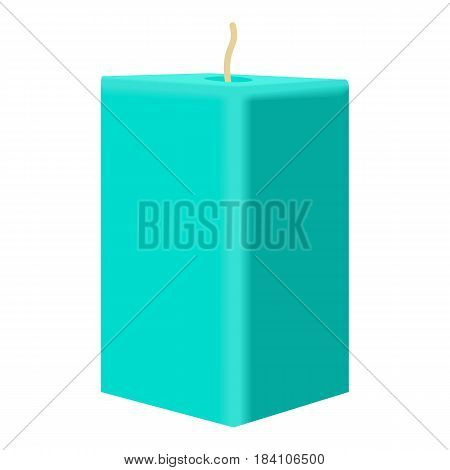 Turquoise rectangular candle icon. Cartoon illustration of turquoise rectangular candle vector icon for web