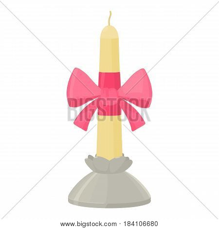 White candle with pink bow in candlestick icon. Cartoon illustration of white candle with pink bow in candlestick vector icon for web