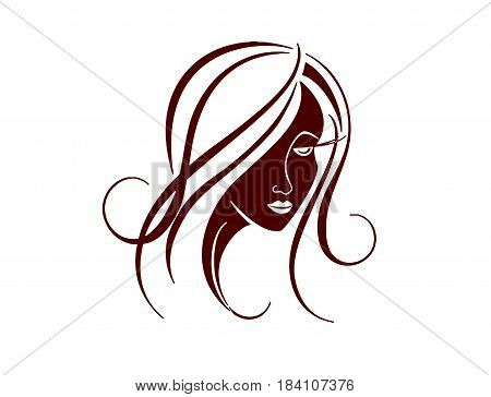 Logo For The Hairdresser. A Silhouette Of The Woman Of Dark Color With A Beautiful Hairstyle. Vector
