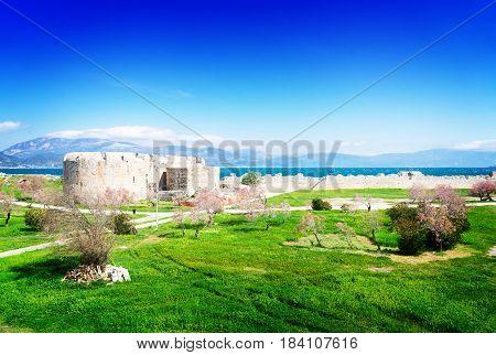 View of Patras Rion castle and Rio Antirrio bridge, Greecer, retro toned
