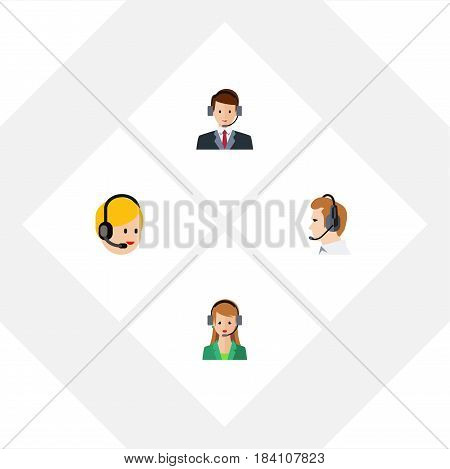 Flat Telemarketing Set Of Telemarketing, Hotline, Secretary And Other Vector Objects. Also Includes Online, Secretary, Center Elements.