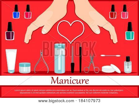 Professional manicure poster in flat style. Nails manicure or hands with manicure. Vector illustration