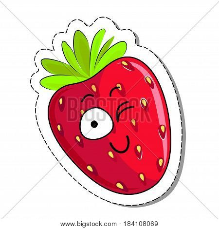 Cartoon strawberry cute character face isolated vector illustration. Funny sweet berry face icon. Cartoon face food emoji. Strawberry emoticon. Funny food sticker.