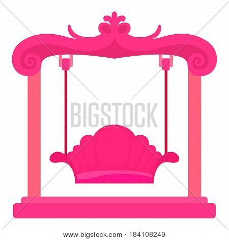 Pink swing icon. Cartoon illustration of pink swing vector icon for web