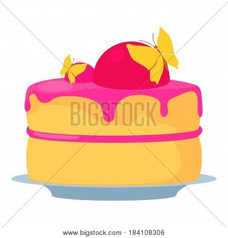 Cake for princess icon. Cartoon illustration of cake for princess vector icon for web