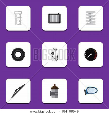 Flat Component Set Of Cambelt, Absorber, Crankshaft And Other Vector Objects. Also Includes Wheel, Spring, Auto Elements.