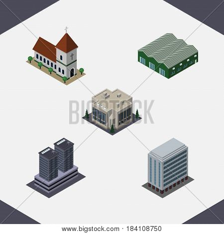 Isometric Construction Set Of Office, Warehouse, Company And Other Vector Objects. Also Includes Chapel, Depot, Office Elements.
