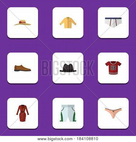 Flat Garment Set Of Panama, Trunks Cloth, Lingerie And Other Vector Objects. Also Includes Hat, Man, Fedora Elements.