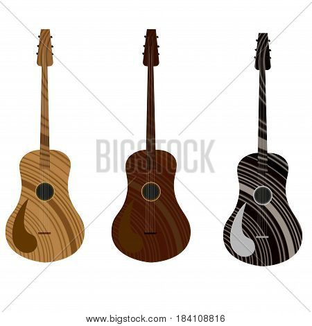 Guitar icon in three different style. Guitar icon. Guitar vector. Vector illustration eps 10. Guitar icon vector Acoustic musical instrument sign Isolated on white background.