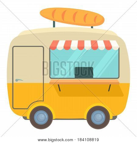 Fast food trailer with loaf icon. Cartoon illustration of fast food trailer with loaf vector icon for web