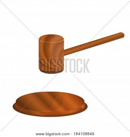 Wooden gavel icon. Gavel icon. Gavel vector. Wooden gavel isolated on white background.