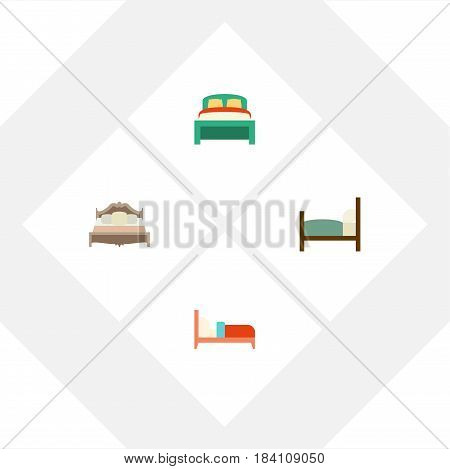 Flat  Set Of Bearings, Bedroom, Furniture And Other Vector Objects. Also Includes Mattress, Furniture, Bedroom Elements.