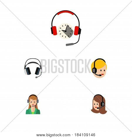 Flat Call Set Of Secretary, Earphone, Call Center And Other Vector Objects. Also Includes Earphone, Center, Headset Elements.
