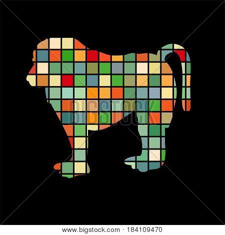 Baboon ape primate color silhouette animal. Vector Illustrator.