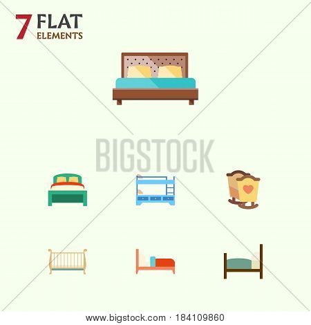 Flat Bedroom Set Of Crib, Hostel, Bearings And Other Vector Objects. Also Includes Bedding, Hostel, Crib Elements.