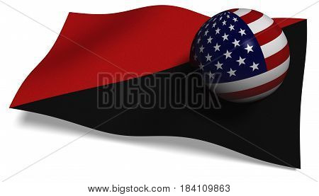 3D illustration. Antifa flag with a USA flag in a ball