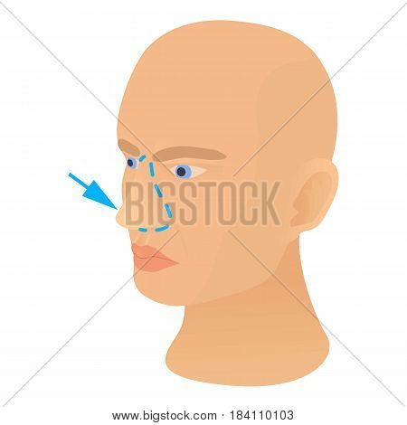Nose plastic correction icon. Cartoon illustration of nose plastic correction vector icon for web