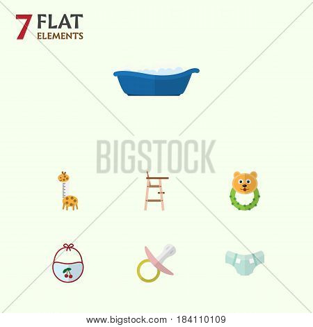 Flat Kid Set Of Pinafore, Nappy, Child Chair And Other Vector Objects. Also Includes Pacifier, Diaper, Baby Elements.
