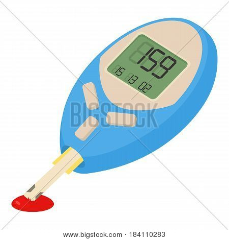 Blood glucose measuring device icon. Cartoon illustration of blood glucose measuring device vector icon for web