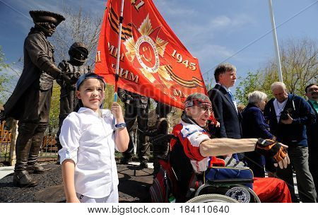 Orel Russia - April 29 2017: Russian traveler festival. First Russian monument to travelers opening