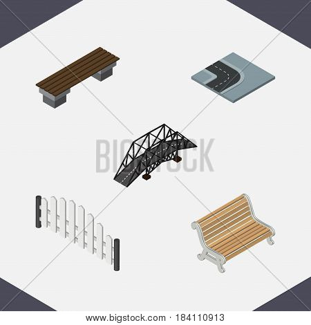 Isometric Urban Set Of Barricade, Seat, Bench And Other Vector Objects. Also Includes Wooden, Barricade, Turn Elements.