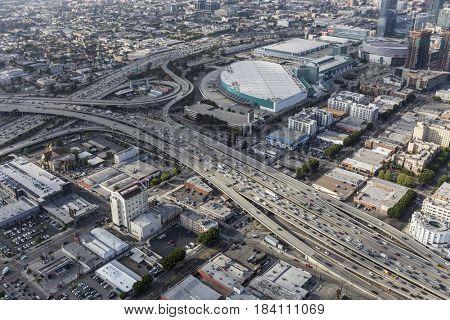 Los Angeles, California, USA - April 12, 2017:  Aerial view of Harbor 110 and Santa Monica 10 freeways interchange in downtown LA.