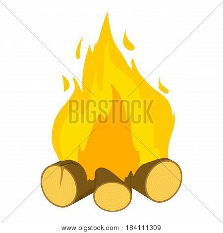 Burning bonfire icon. Cartoon illustration of burning bonfire vector icon for web