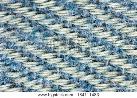 Detailed Close-Up of a blue colored fabric pattern for background purposes