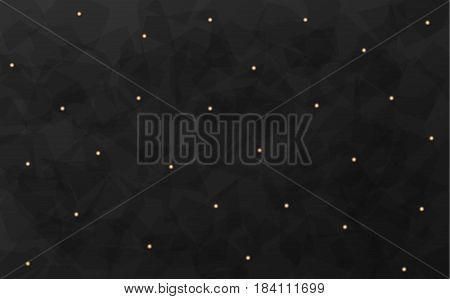 Deep gray bright color 3d background. golden rhinestones beads polka style vector luxury illustration. Dark black premium template