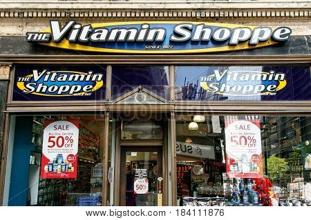 New York April 28 2017: The front of a Vitamin Shoppe store in downtown Manhattan.