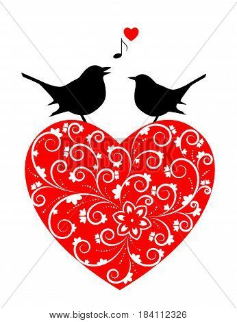 vector heart and pair of love birds isolated on white background