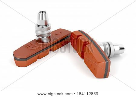 Bicycle brake pads on white background, 3D illustration