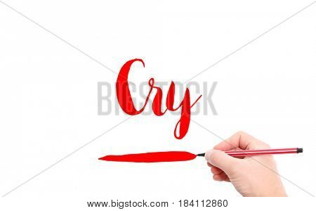 The word of Cry written by hand on a white background
