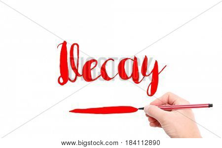 The word of Decay written by hand on a white background