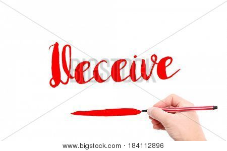 The word of Deceive written by hand on a white background