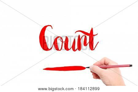 The word of Count written by hand on a white background
