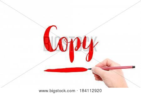 The word of Copy written by hand on a white background