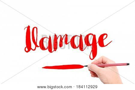 The word of Damage written by hand on a white background
