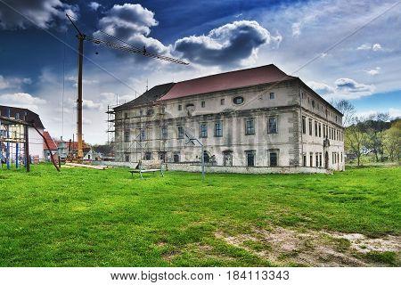 Stvolinky Machuv kraj Czech republic - April 14 2017: reconstruction of lock in spring afternoon