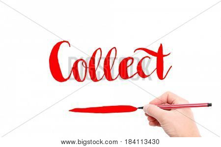 The word of Collect written by hand on a white background