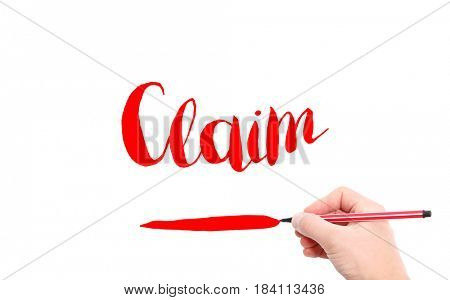 The word of Claim written by hand on a white background