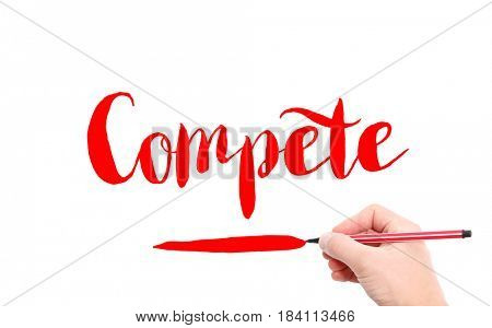 The word of Compete written by hand on a white background