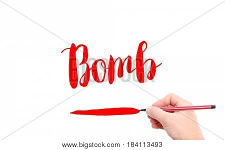 The word of Bomb written by hand on a white background
