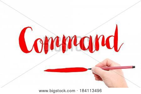 The word of Command written by hand on a white background
