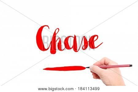 The word of Chase written by hand on a white background